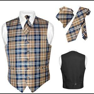Men's Plaid Dress Vest NeckTie for Suit Tux